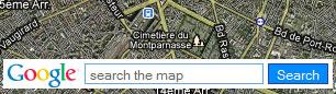 champ de recherche Google Map