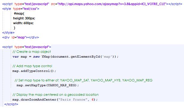 code d'appel à yahoo map